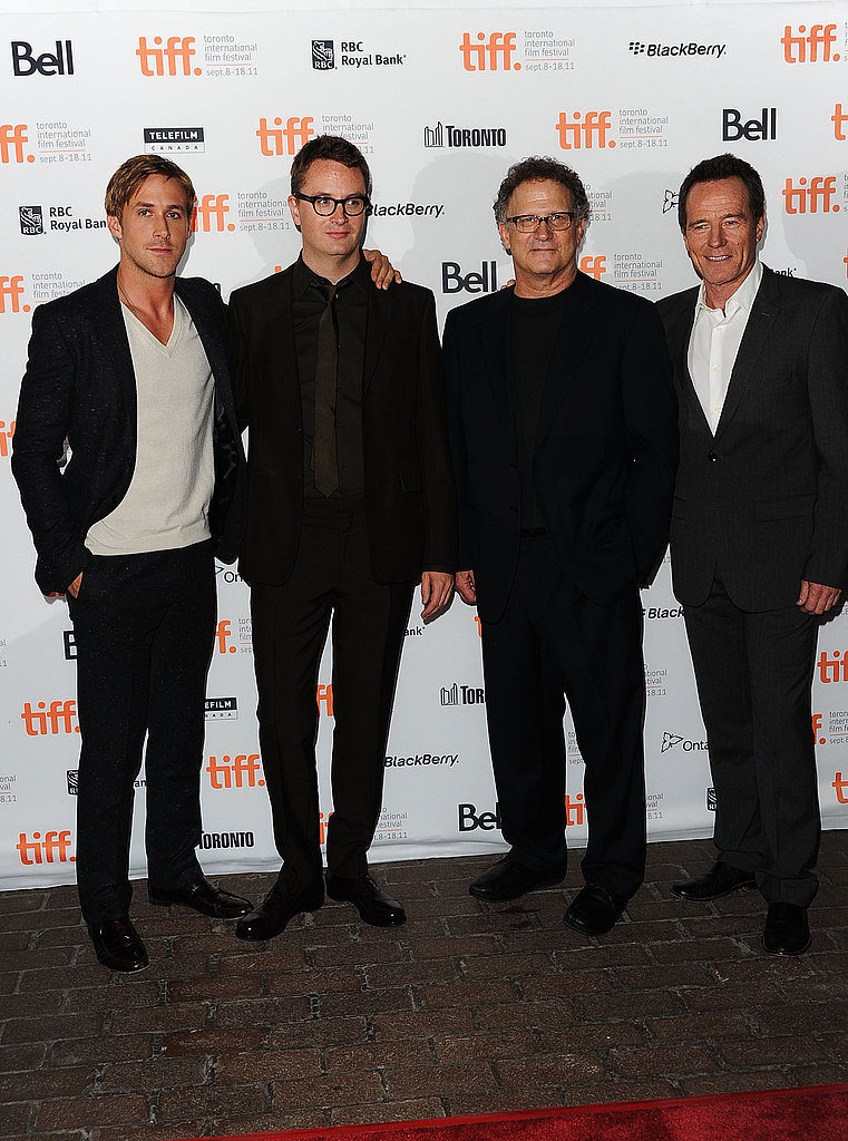 Ryan Gosling posed with Nicolas Winding Refn, Albert Brooks, and Bryan Cranston.