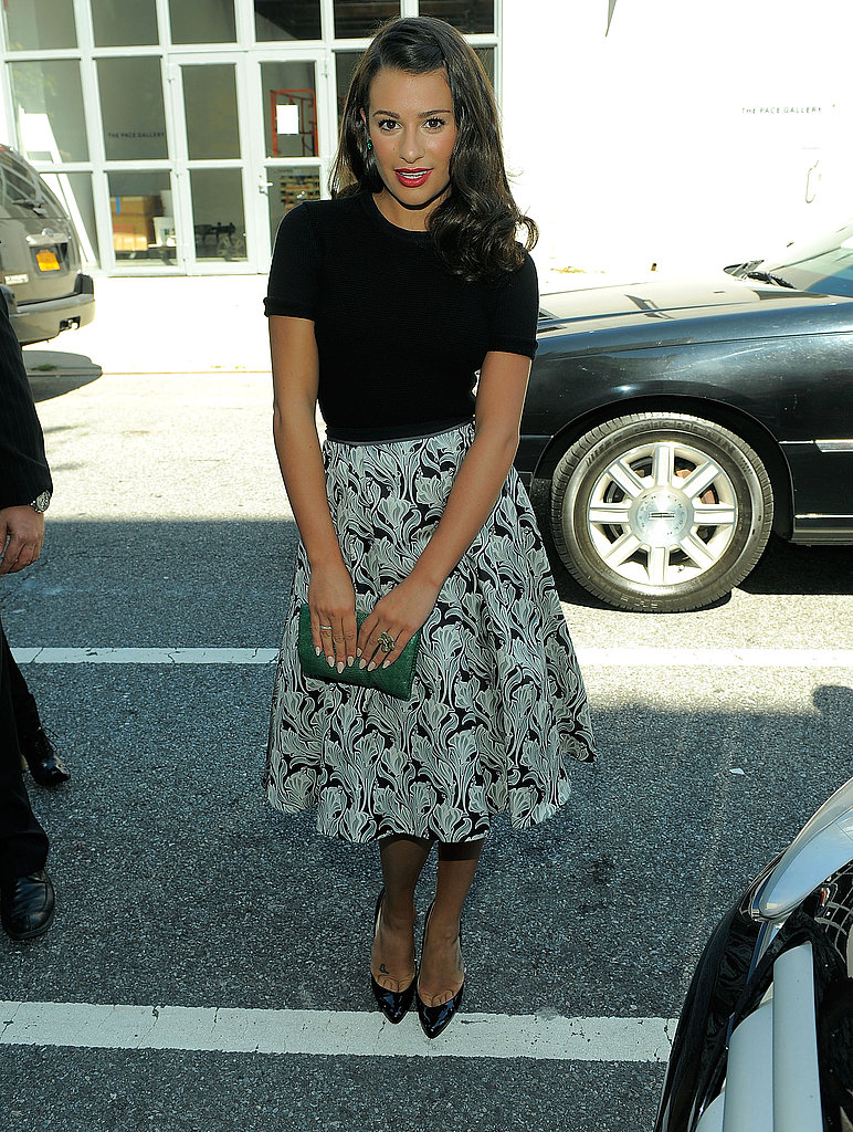 Lea Michele outside Jason Wu, wearing Jason Wu Resort.