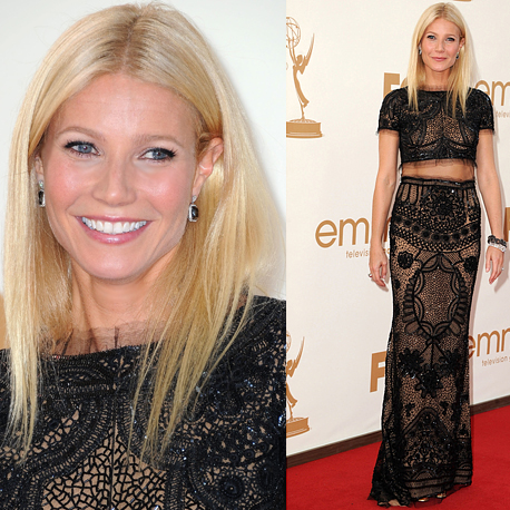 Pictures of Gwyneth Paltrow in sexy black sheer Pucci dress on the red carpet at the 2011 Emmy Awards