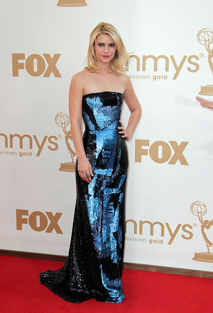 Claire Danes Sparkles in Blue on the Emmys Red Carpet