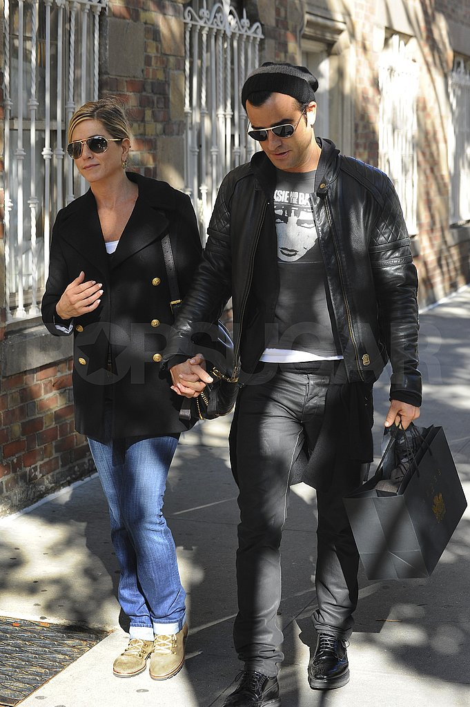 Jennifer Aniston and boyfriend Justin Theroux in NYC.