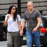 Matt Damon walks NYC with wife Luciana Damon.