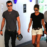 Jennifer Aniston and boyfriend Justin Theroux leaving a building together.