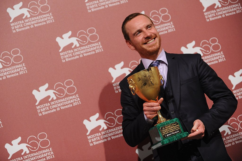 Michael Fassbender posed after winning best actor at the Venice Film Festival.