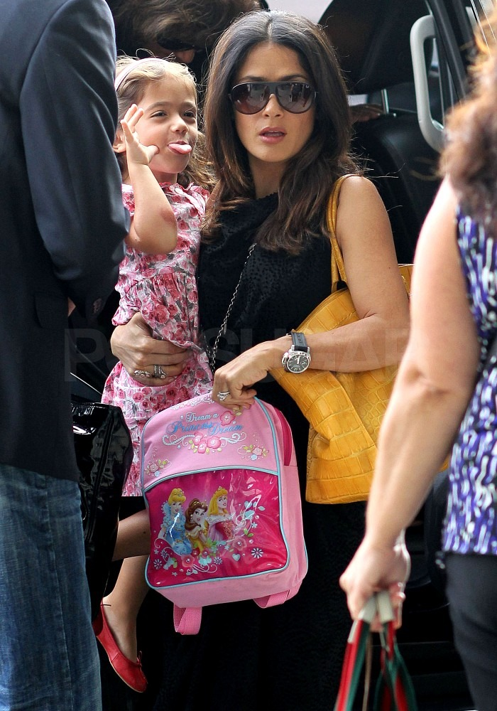 Salma Hayek gave Valentina Pinault a lift out of the car.