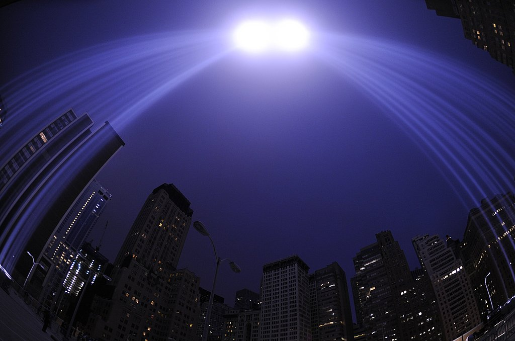 The Tribute in Light art installation consists of 88 searchlights at the site of the World Trade Center.