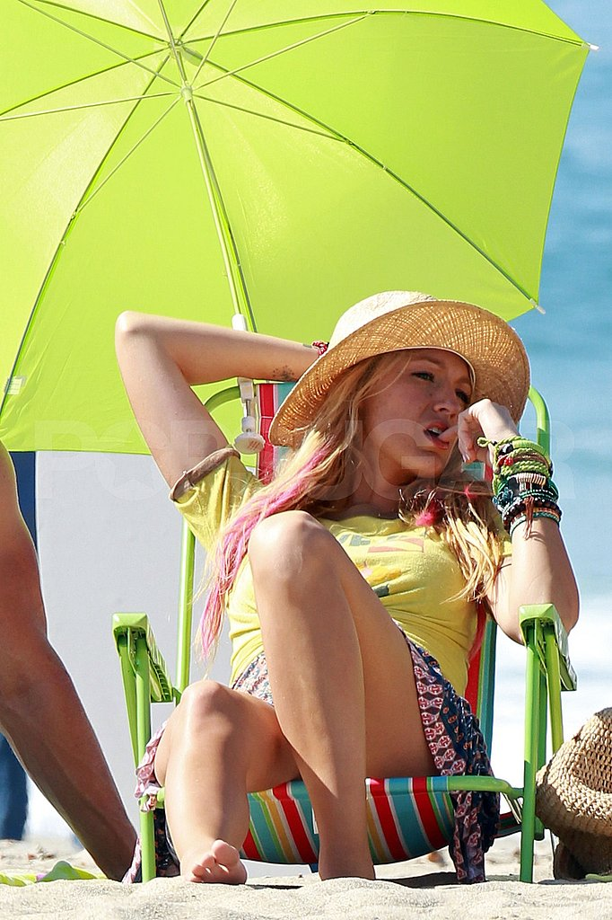 Blake Lively on the beach for Savages.