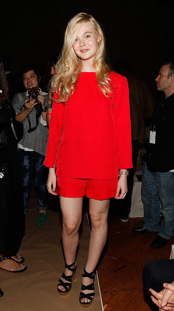 Elle Fanning in red at Marc by Marc Jacobs.