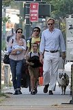 Jennifer Connelly, Paul Bettany, Agnes Bettany, Kai Dugan, and Stellan Bettany took their dog for a walk.