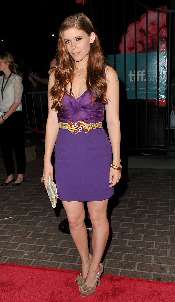 Kate Mara complemented her red locks with a purple dress.