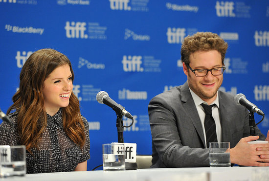 Anna Kendrick and Seth Rogen laughed at the 50/50 press conference.