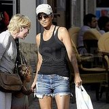 Halle Berry in denim shorts.