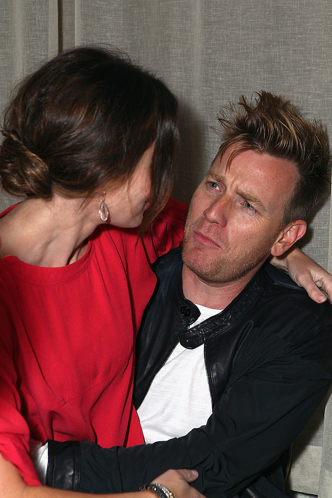 Ewan McGregor pouts as he holds Emily Blunt during the Your Sister's Sister party.