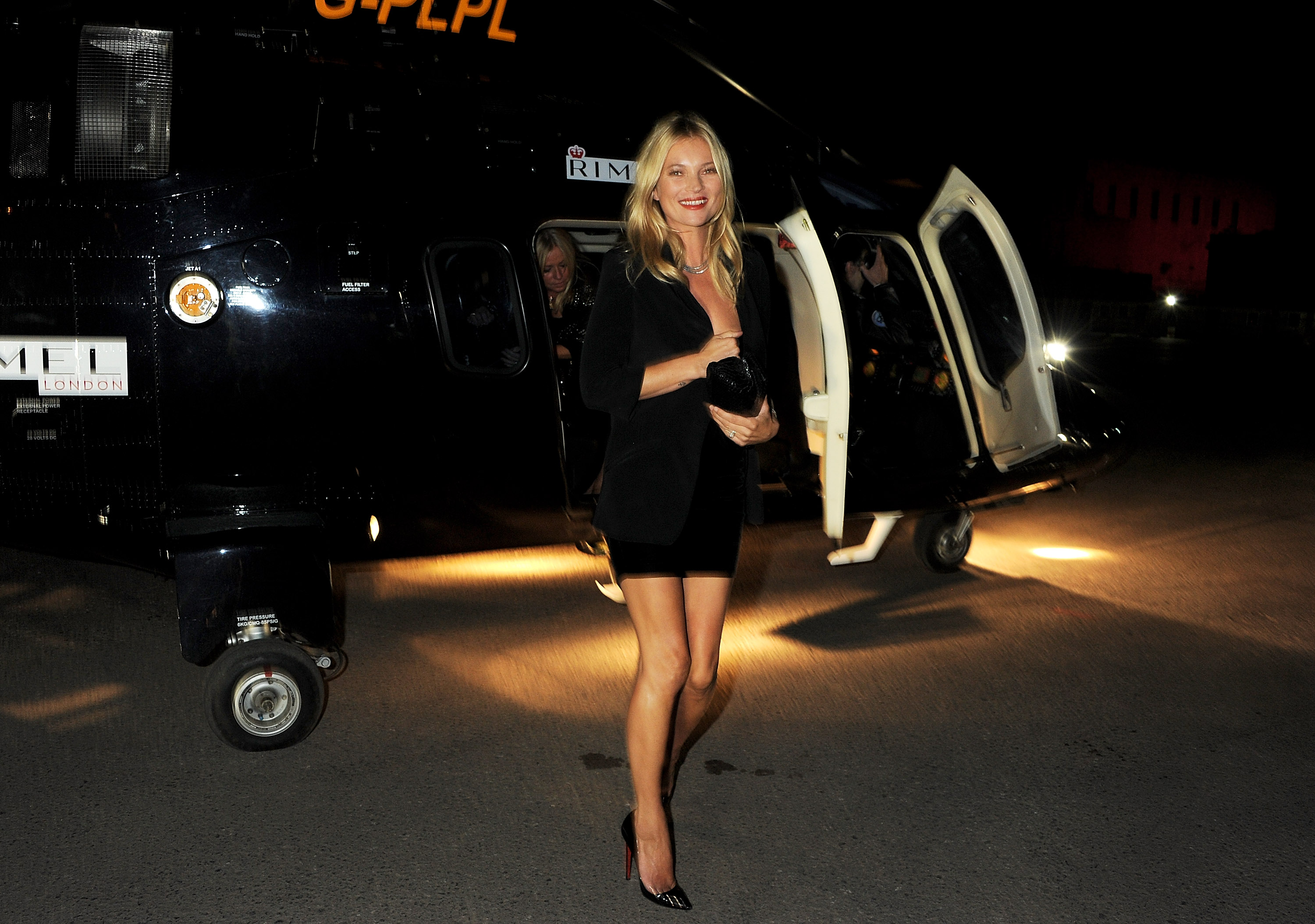 Kate Moss arrived by helicopter for the Rimmel London party.