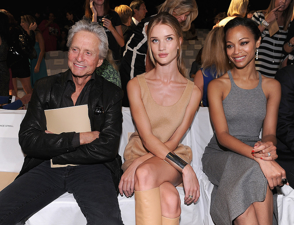 Rosie Huntington-Whiteley, Zoe Saldana, and Michael Douglas sat front row at the Michael Kors Spring presentation.