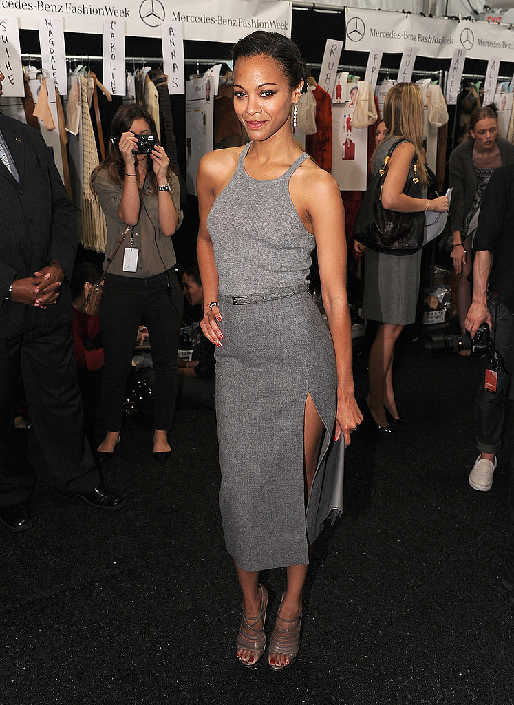 Zoe Saldana wowed in gray backstage at Michael Kors.