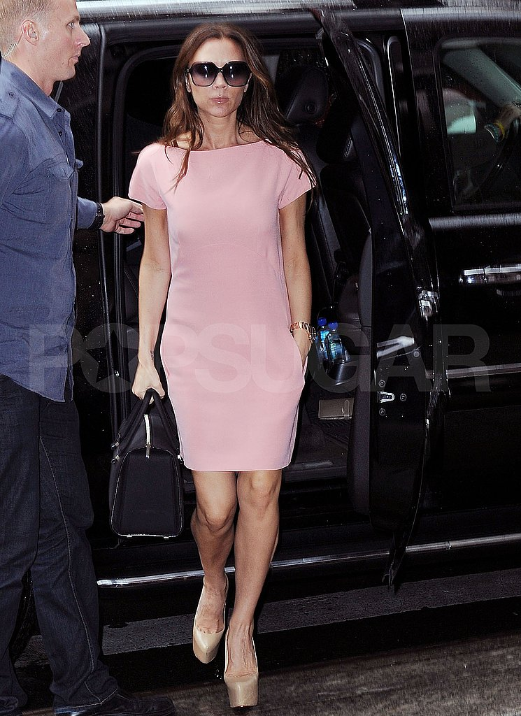 Victoria Beckham in a frock and Louboutins.