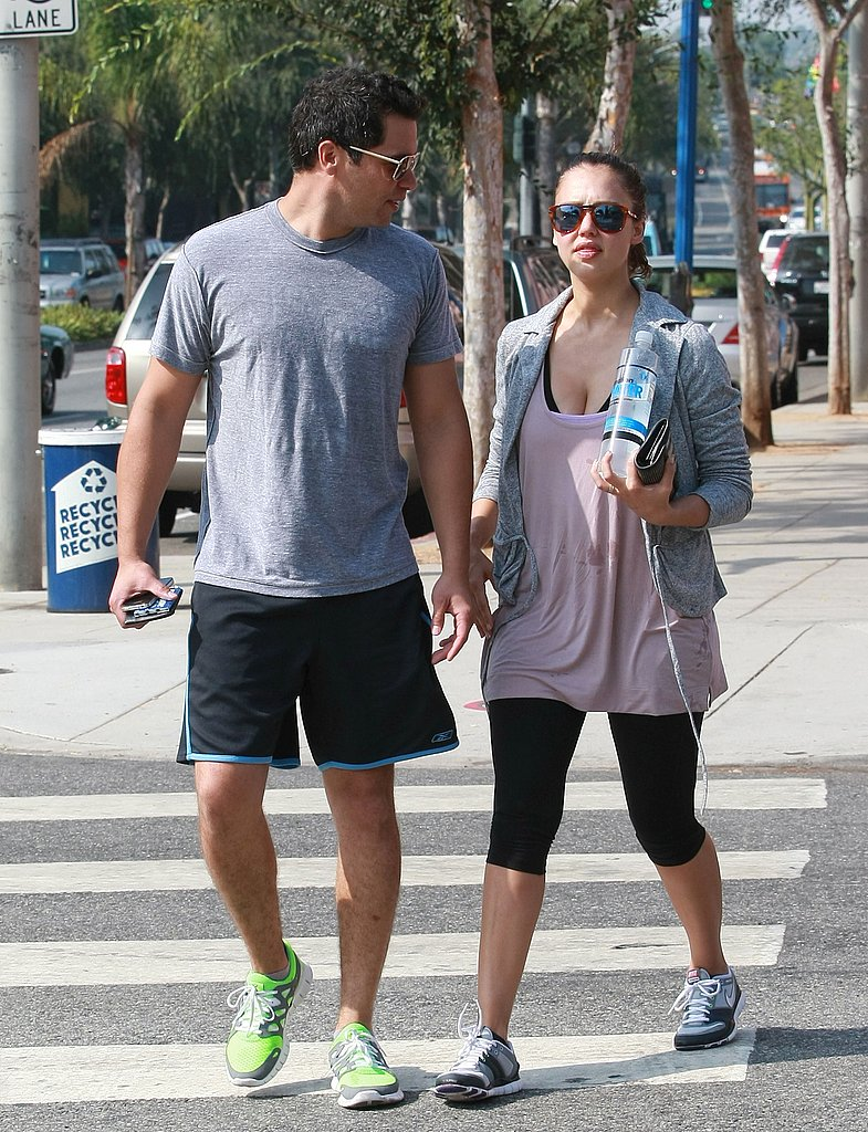 Jessica Alba and Cash Warren worked out together.