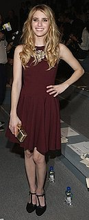 Emma Roberts in Burgundy Tibi Dress