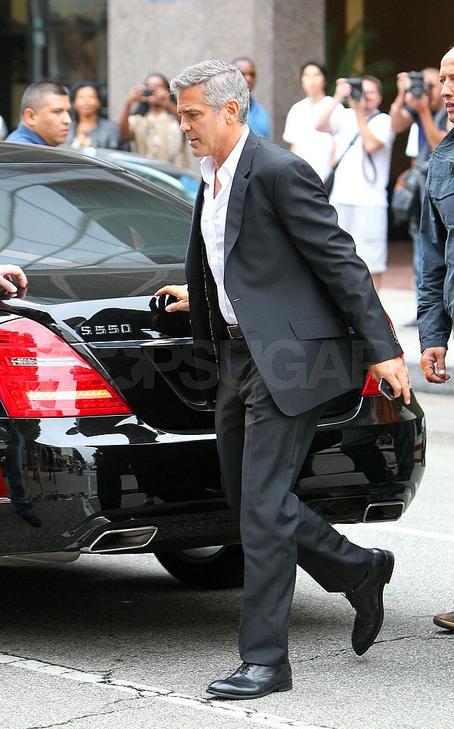George Clooney got out of a Mercedes-Benz in Beverly Hills.