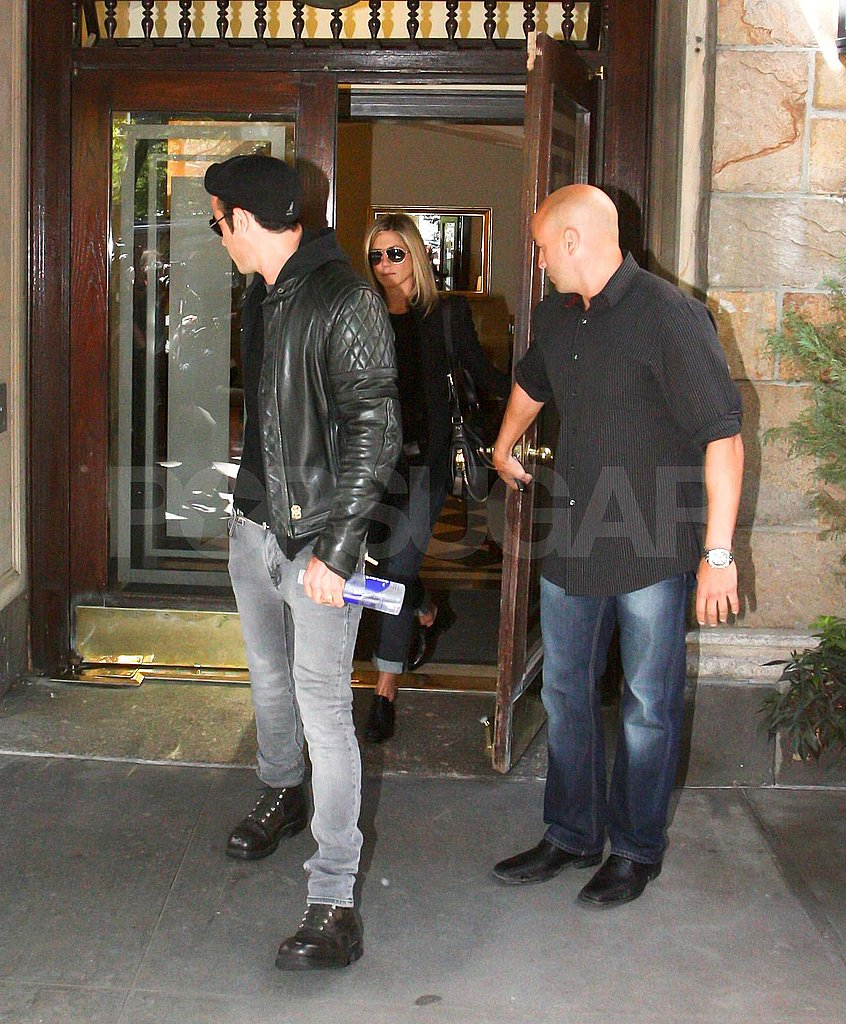 Jennifer Aniston and Justin Theroux leave lunch in NYC's West Village.