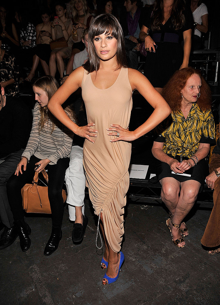 Lea Michele in a nude, draped dress and purple pumps at Alexander Wang.