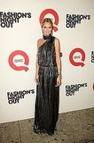 Heidi Klum wore a metallic, pleated maxidress at QVC's Fashion's Night Out party.