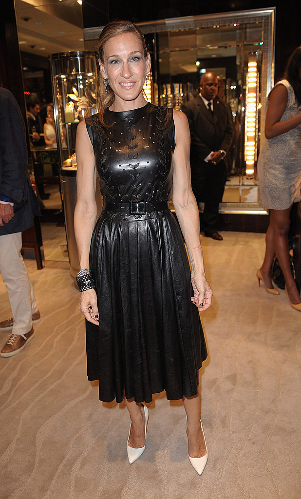 Sarah Jessica Parker in a leather dress by Prabal Gurung at FNO.