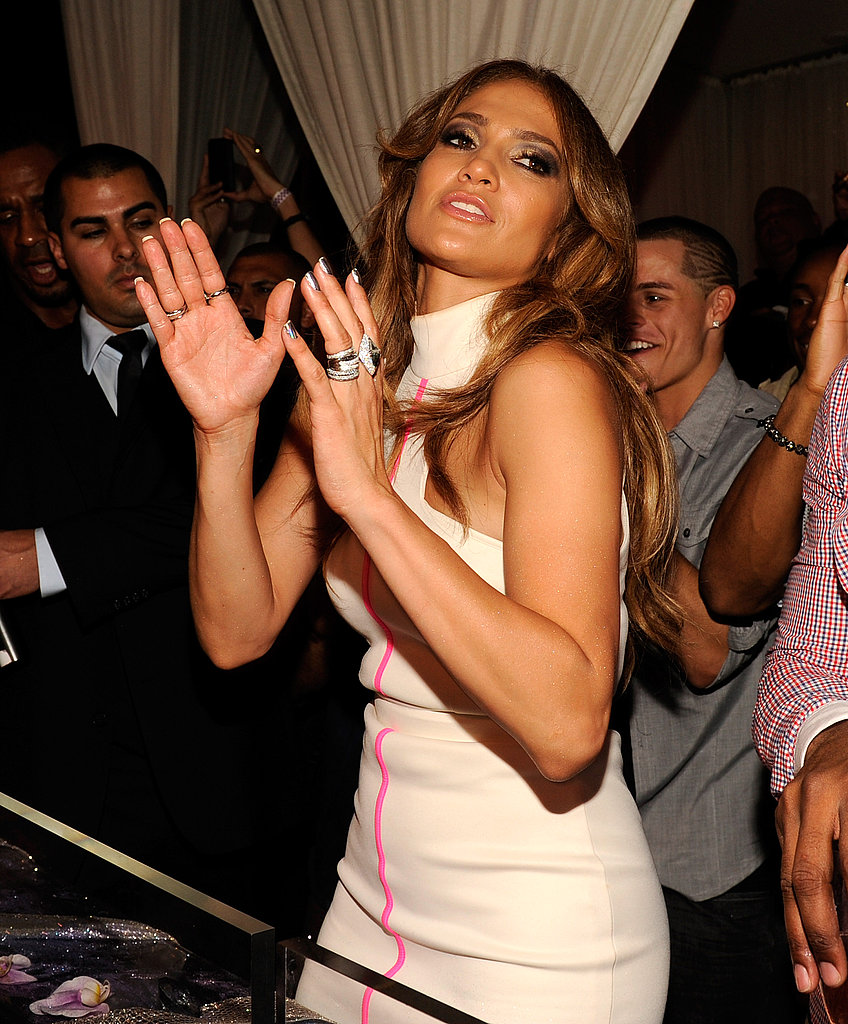 J Lo visited the DJ booth at Pure.