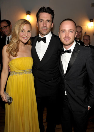 Jennifer Westfeldt, Jon Hamm, and Aaron Paul posed together at the AMC Emmy afterparty.