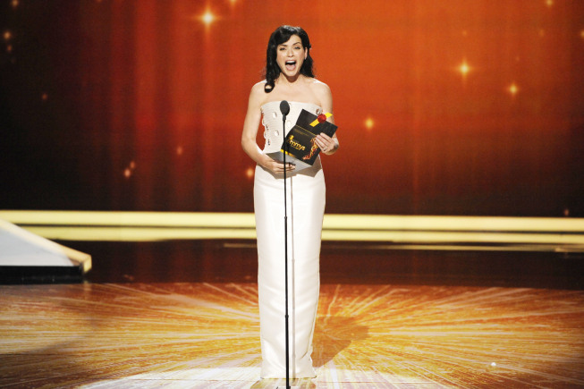 """I'm Julianna Margulies, otherwise known as the funniest woman on television. It's true. look it up."" — Julianna Margulies, presenting the award for best supporting actor in a comedy.  Photo courtesy of Fox"