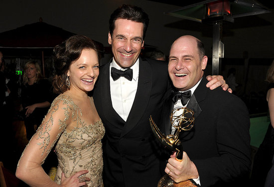 Jon Hamm, Elisabeth Moss, and Matthew Weiner at the AMC post-Emmys party.
