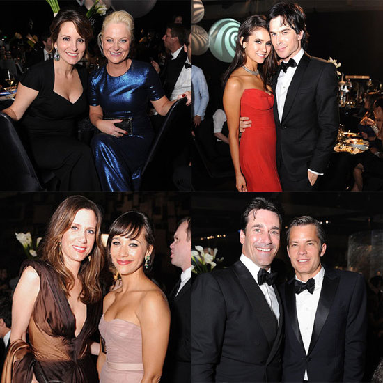Amy and Tina Toast Funny Women With Jon, Timothy, Nina, and Ian at the Emmys Governors Ball