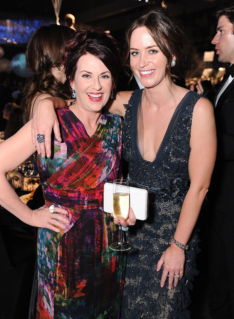 Megan Mullally and Emily Blunt enjoy themselves after the Emmys.