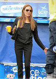 Angelina Jolie has a drink at Legoland.