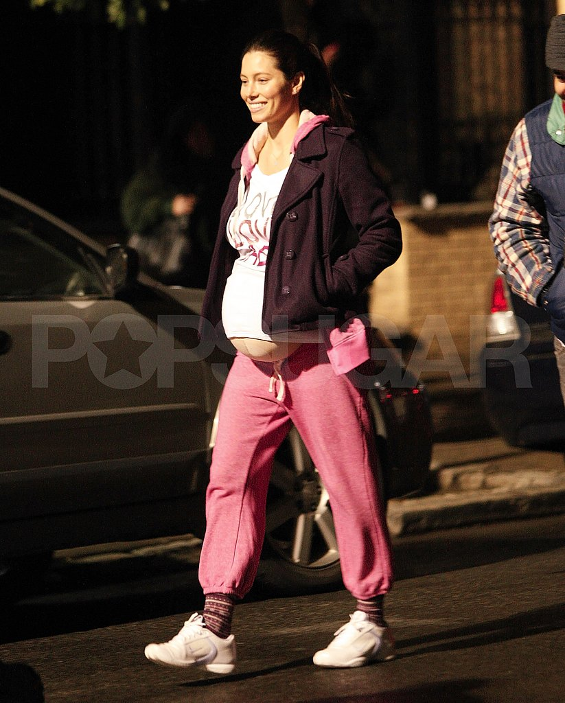 Jessica Biel on the NYC set of What to Expect When You're Expecting.
