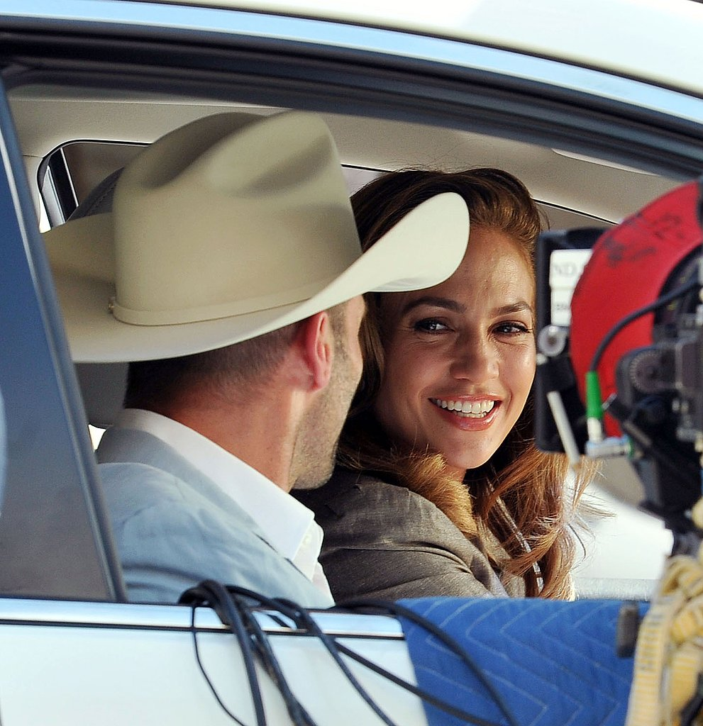 Jennifer Lopez flashed a smile at Jason Statham.