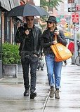 Jennifer Aniston and Justin Theroux in rainy NYC.
