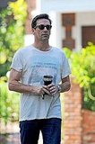 Jon Hamm with coffee in LA.