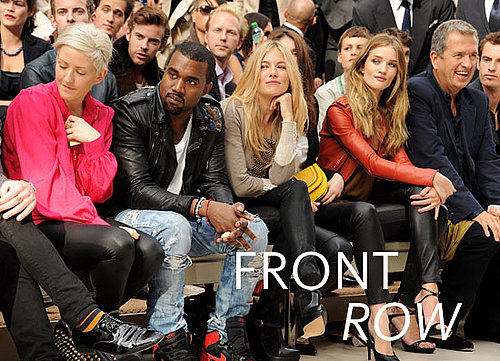 Pictures from Day Four at London Fashion Week Front Row Celebrities Rosie Huntington-Whitley, Kanye West, Rachel Zoe.