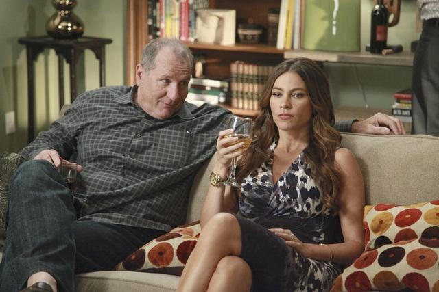 Ed O'Neill as Jay and Sofia Vergara as Gloria on Modern Family.  Photo copyright 2011 ABC, Inc.