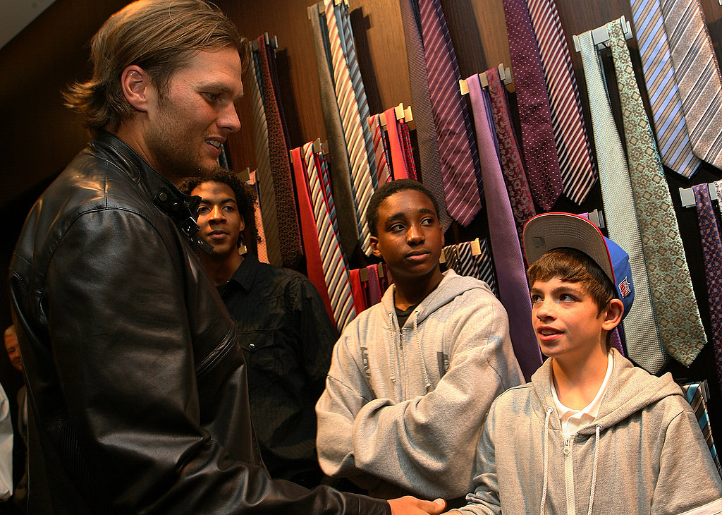 Tom Brady Brings His Sweet Smile to Meet Boys and Girls Club Kids in Boston