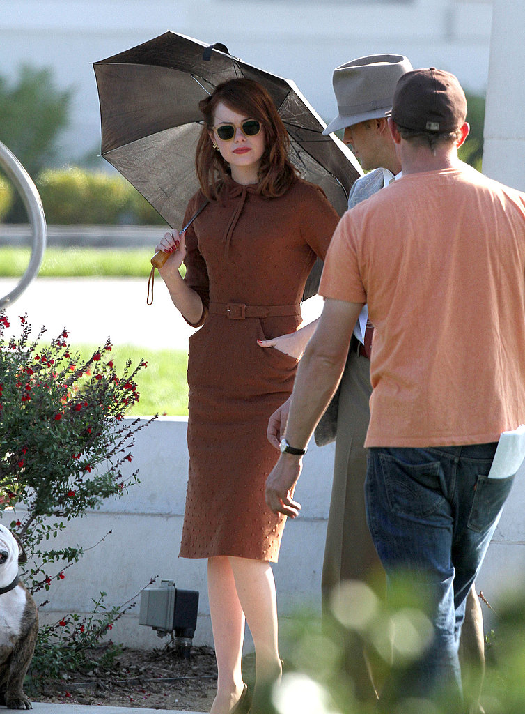 Emma Stone kept her skin protected from the sun.