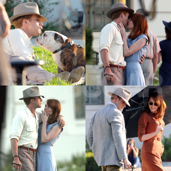 Emma Stone and Ryan Gosling Reignite Their Onscreen Romance on The Gangster Squad Set