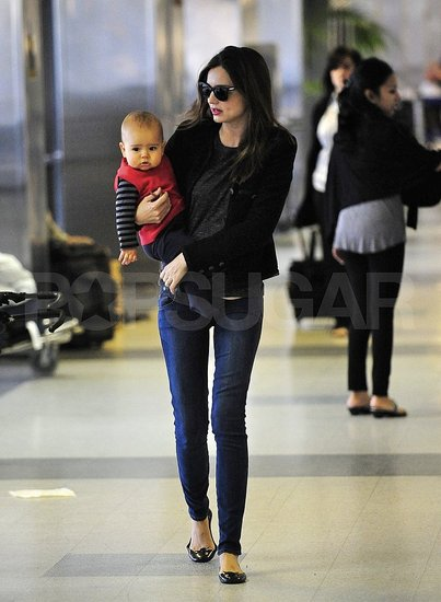 Miranda Kerr and son Flynn Bloom leave LAX.
