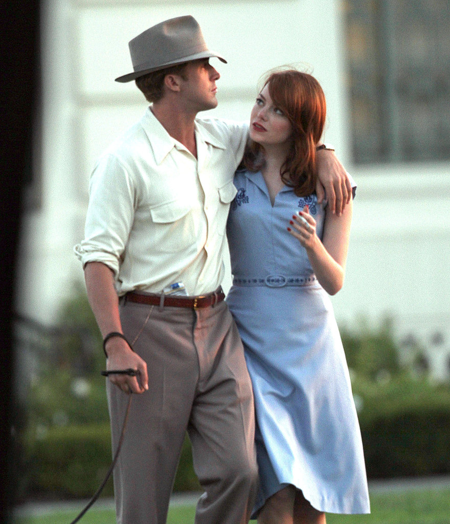 Ryan Gosling walked and talked with Emma Stone.