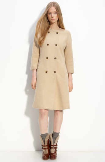 A vintage-inspired coat with cropped sleeves and a slight A-line is ultra ladylike, and needs only a pair of car gloves and a hat to channel Jackie O. Marc by Marc Jacobs Dex Sweater Coat ($598)