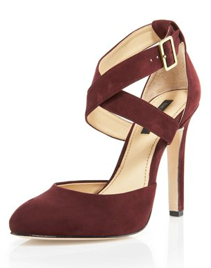 The doublecross ankle strap adds a fashion-forward touch, plus we love the garnet hue. These will add oomph in the most refined way to your sheath dress. Rachel Zoe Ankle Wrap Pump (approx $279)