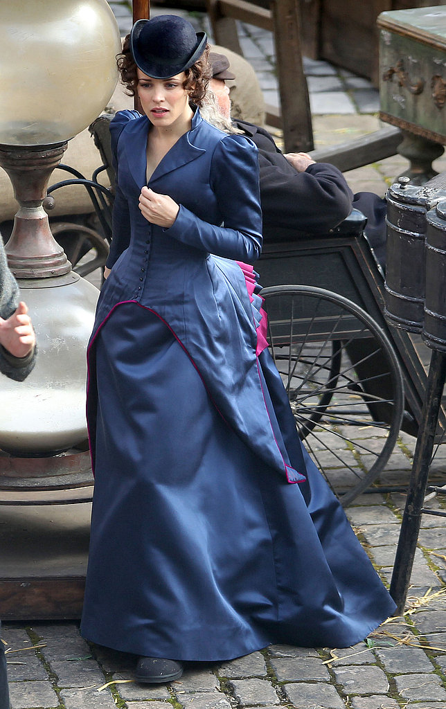 Rachel wore a period costume on set.