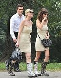 Kirsten Dunst and Lizzy Caplan strolled with James Marsden.